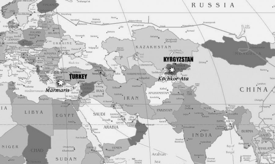 Kyrgyzstan is located in Central Asia. It is bordered by Russia and China and has a population of about 6.6 million people. Turkey can be found is the Middle East. It's  bordered by Syria, Iraq, and Iran and has a population of about 80 million people.  Tai Duong map.