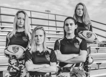 The senior girls' rugby players pose for a serious photo. Photo courtesy Amanda White.