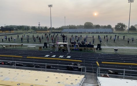 The Marching Rams during a morning practice. Photo courtesy Jayson Gerth.