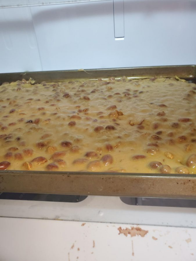 Cooling peanut brittle. Madeline Streepy photo.