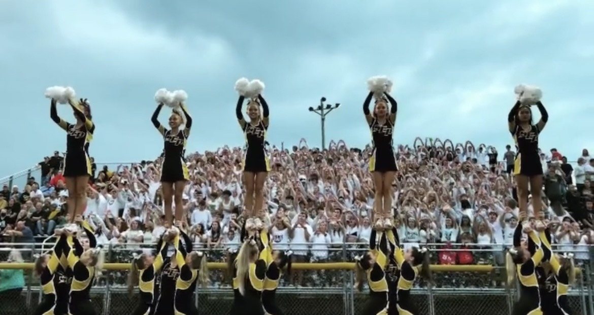 Cheerleaders pump up the crowd during opening kickoff against Valley WDM, Friday, September 3. Photo courtesy SEP Cheer.